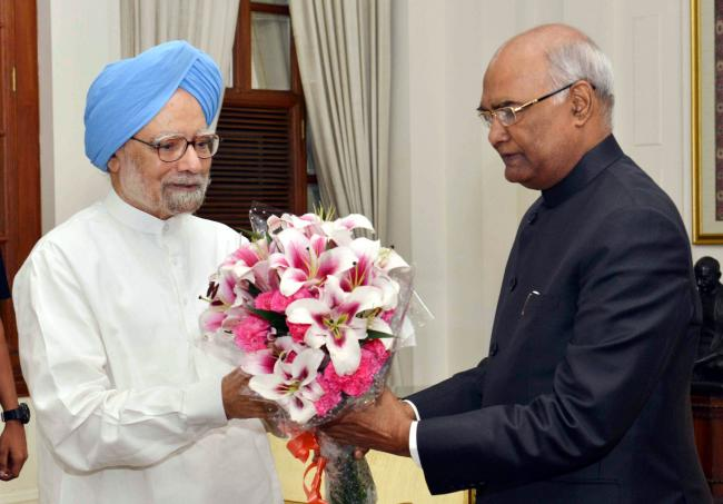 Dr. Manmohan Singh calling on the President