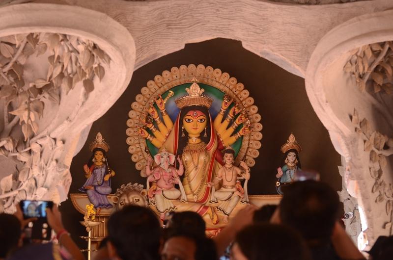 People visit Suruchi Sangha pandal on the occasion of Durga Puja