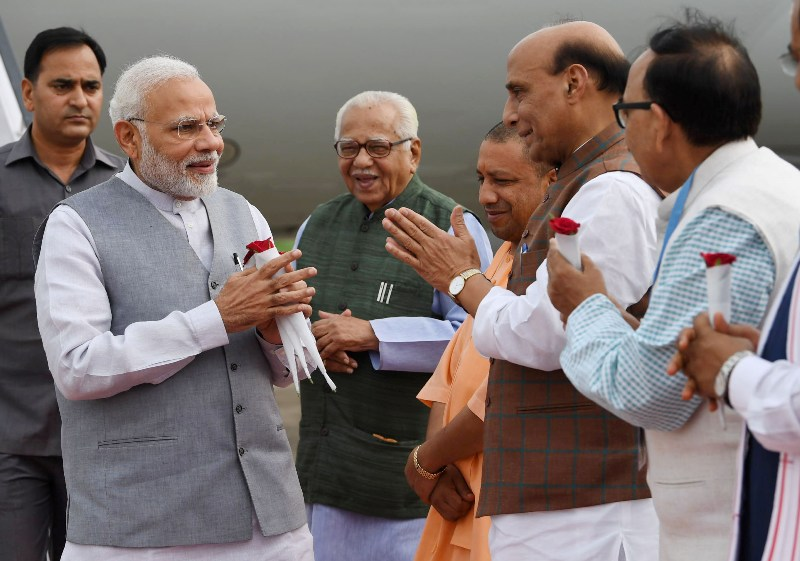 Narendra Modi departs from Lucknow