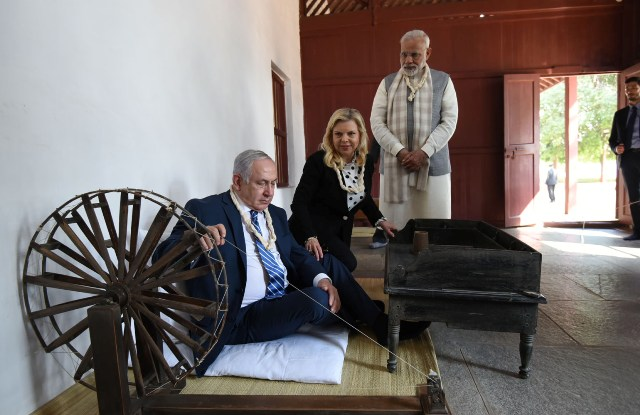 Netanyahu visits Sabarmati Ashram