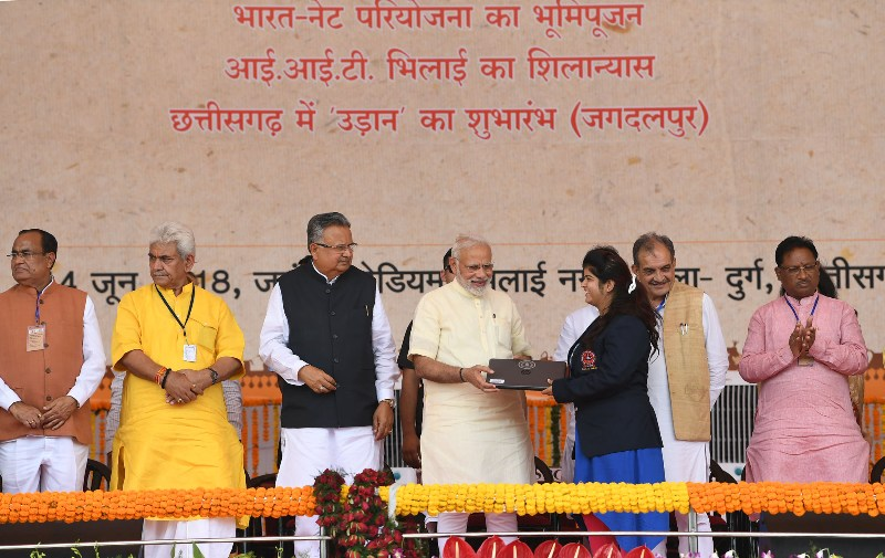 PM Modi distributes laptops, certificates, cheques to beneficiaries in Bhilai, Chhattisgarh
