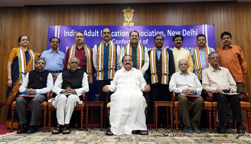 VP Naidu addresses gathering after conferring Nehru and Tagore Literacy Awards