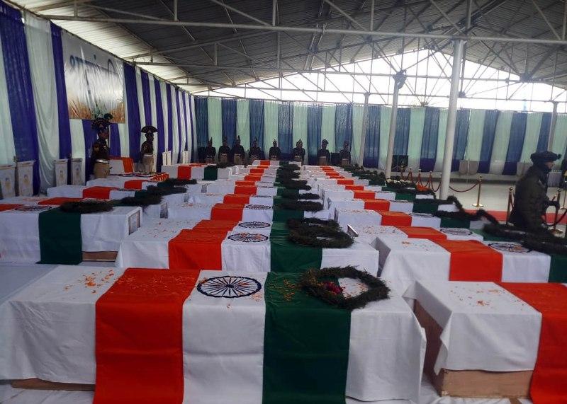 Pulwama attack: Coffins of CRPF jawans in Srinagar