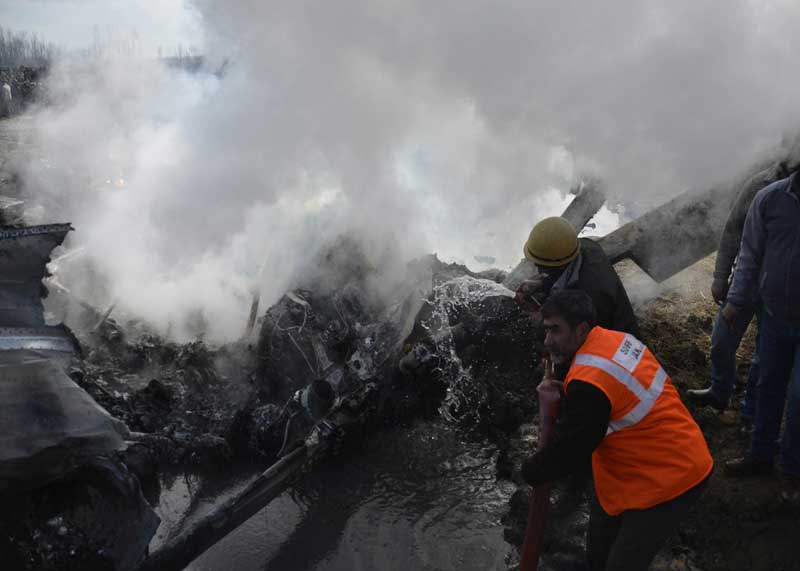 Indian Air Force jet which crashed during the exercise in central Kashmir district of Budgam