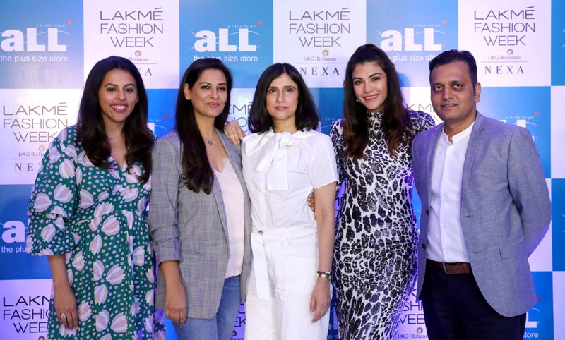 Contestants pose at Lakme Fashion Week in New Delhi