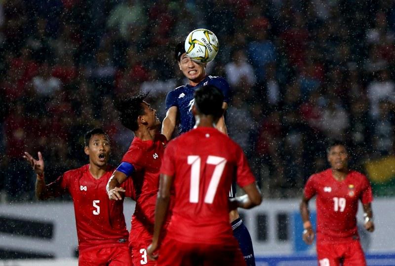 Takumi Minamino in match between Myanmar and Japan