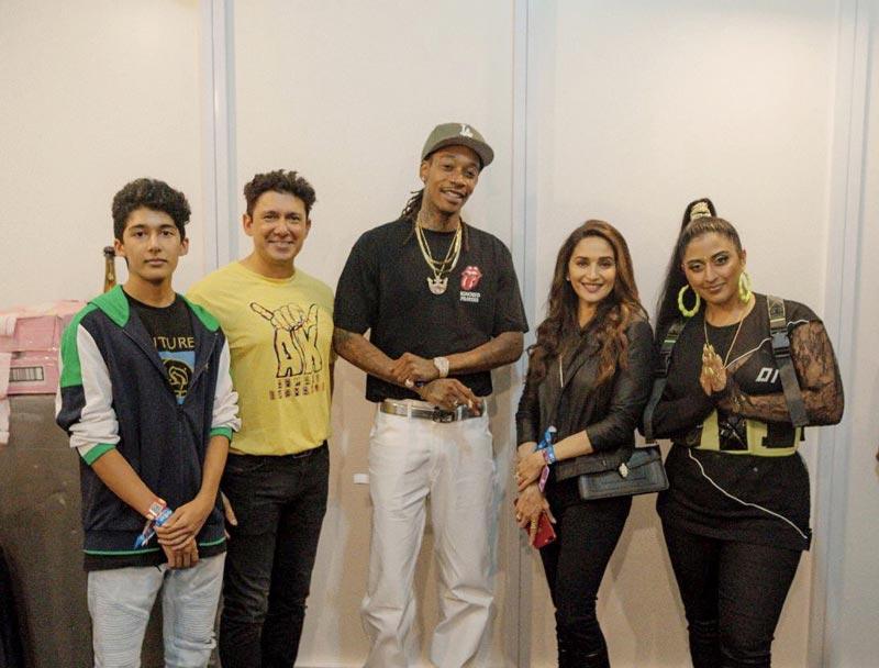 Madhuri Dixit shares image with Wiz Khalifa and Raja Kumari