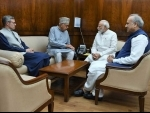 Farooq Abdullah, Omar Abdullah call on PM Modi