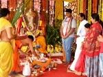 K Chandrasekhar Rao offers Ganesh Puja in Hyderabad