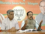 Telangana BJP Chief K Krishna Saagar Rao addresses media in Hyderabad
