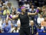 Rafael Nadal celebrates win at Men's singles semifinal is US Open