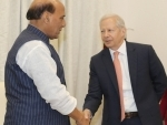 Rajnath Singh meets U.S. Ambassador Kenneth Ian Juster in New Delhi on December 03, 2019.