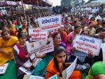 Farmers stage dharna against YSRCP's three capital cities in Amaravati