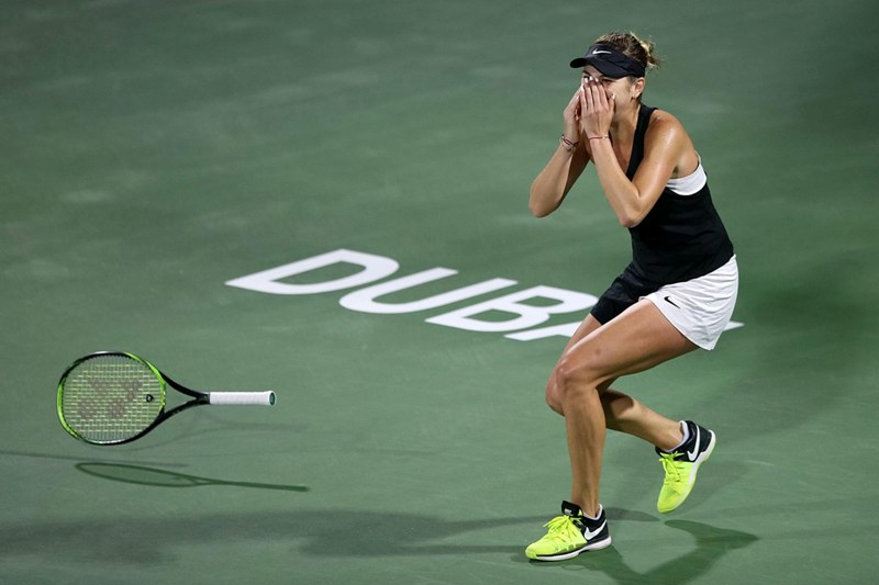 Petra Kvitova of the Czech Republic reacts during the womens singles semifinal