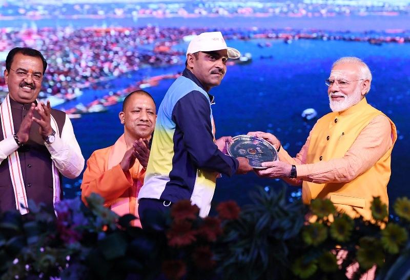 PM Modi distributes Swachh Kumbh Swachh Aabhaar awards