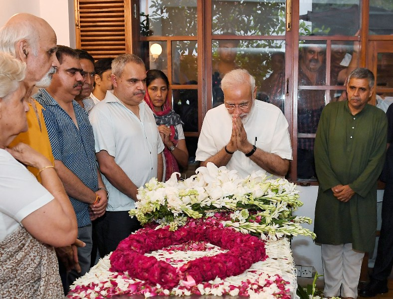 PM Modi pays tribute to Sheila Dikshit in New Delhi