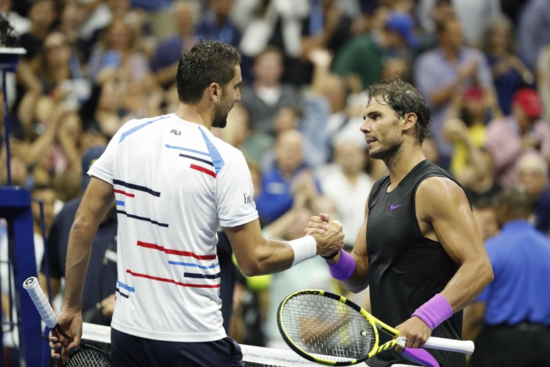 Rafael Nadal returns during Men's singles in US Open