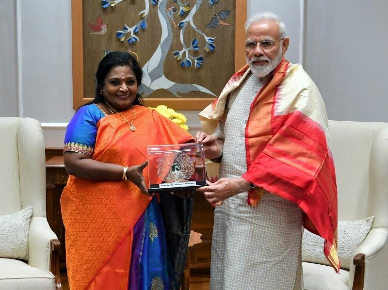 The Governor of Telangana, Dr. Tamilisai Soundararajan calls on PM Narendra Modi