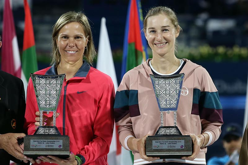 Makarova and Hradecka pose with trophy