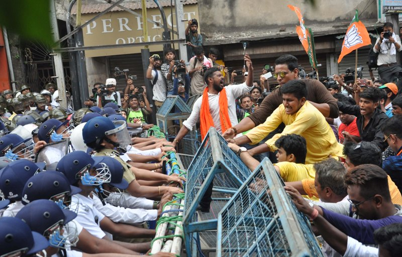 Police teargas, use water cannons to disperse Bengal BJP march towards Lalbazar