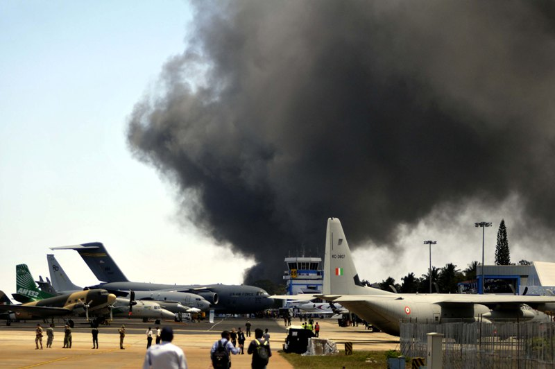 Major fire at a parking area near Aero India show in Bangalore
