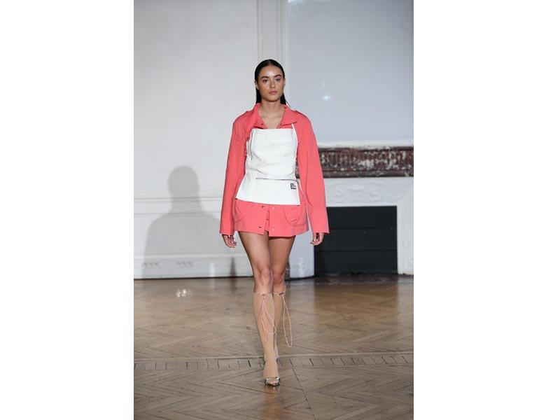 Models walk for designer Afterhomework in Paris Fashion Week