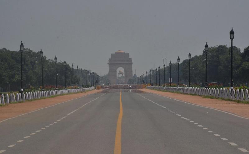 Rajpath barricaded near India Gate amid Covid19 pandemic in New Delhi