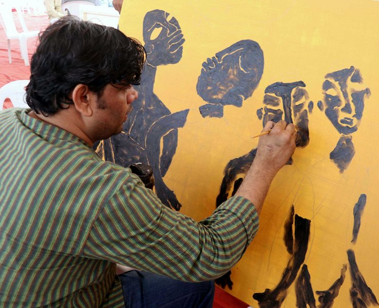 Mumbai: Artists make painting to protest against NRC, CAA
