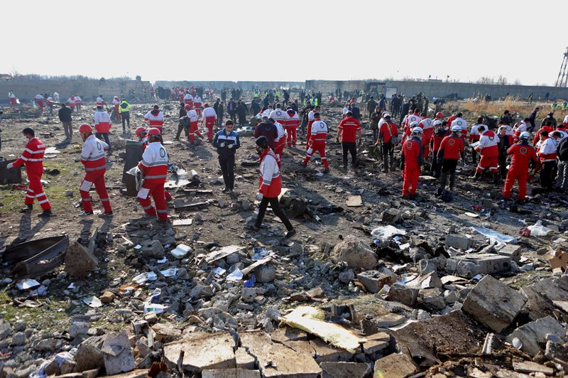 Iran: Ukrainian Boeing-737 flight with 176 passengers crashes, all onboard dead, rescue workers at site