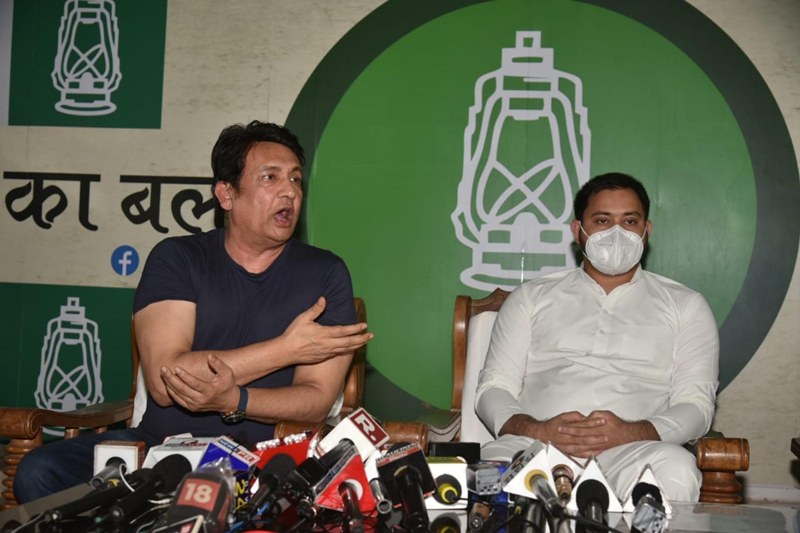 Shekhar Suman addresses a press conference in Patna