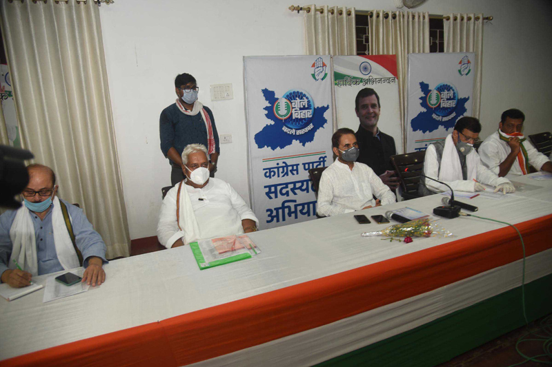 Bihar Congress chief Shakti Singh Gohil with other party leaders at state election committee