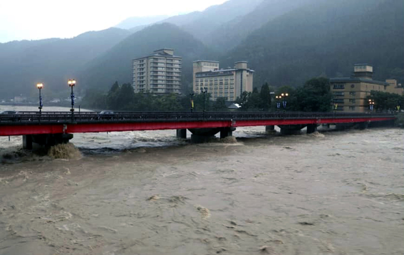 Japan:Rescue operation going on as Hida River overflows