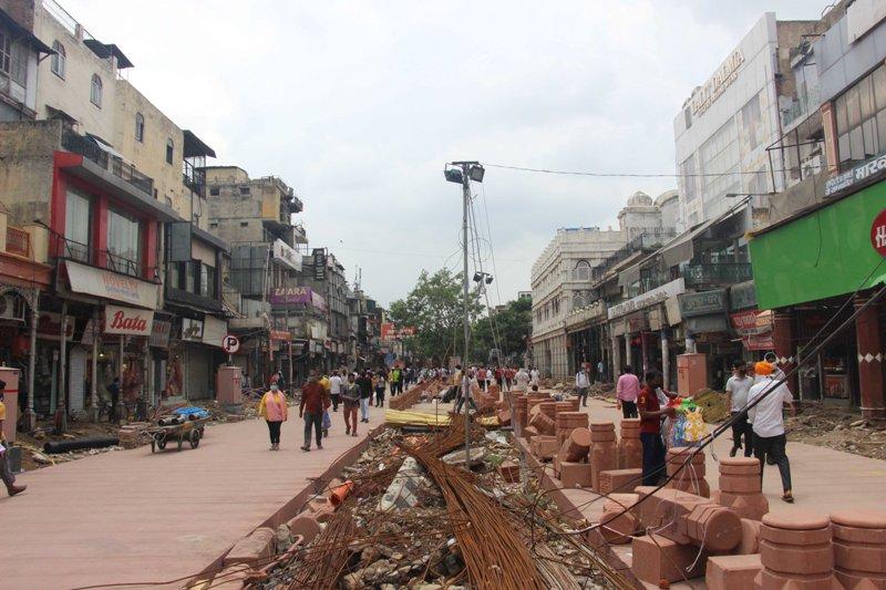 Works underway in New Delhi's Chandni Chowk