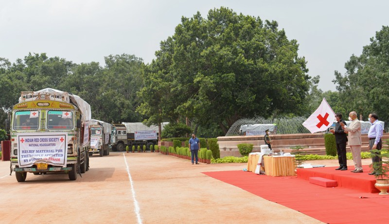 President Kovind flags off loaded truck of relief materials