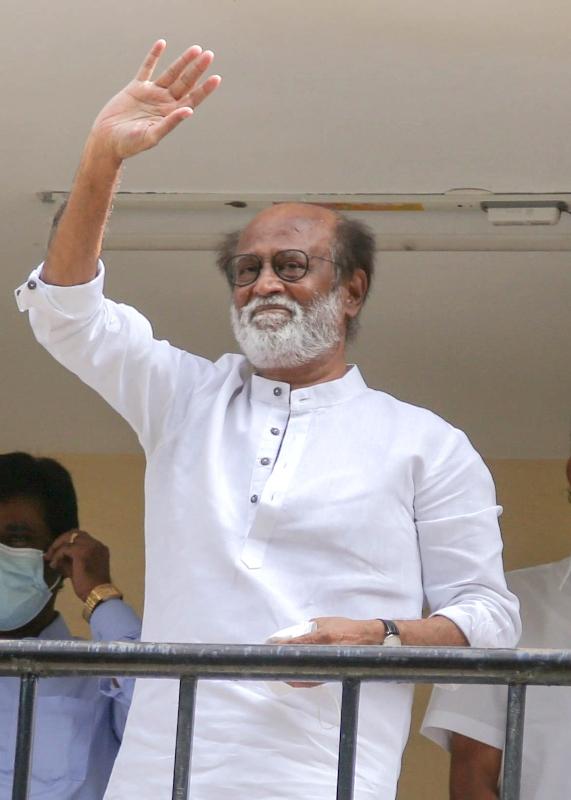 Actor Rajinikanth greets fans at Raghavendra Kalyana Mandapam in Chennai