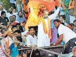 Telangana BJP President Bandi Sanjay Kumar celebrating victory of GHMC in Hyderabad