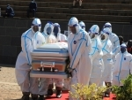Casket of late Zimbabwean Agriculture Minister Perrance Shiri carried during burial