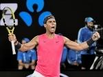 Rafael Nadal celebrates his win in Australia Open