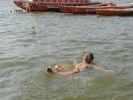Varanasi: People practise Yoga on Ganges ghat