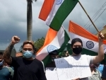 Indians of Chinese origin protest against Chinese aggression
