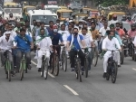 RJD protests against fuel price hike in Patna