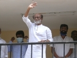 Actor Rajinikanth greets fans at Raghavendra Kalyana Mandapam in Chennai