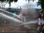 Police using water cannons to disperse KSU workers demanding resignation of Kerala Higher Education Minister K T Jaleel