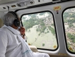 Nitish Kumar conducting an aerial survay of the flood affected Darbhanga