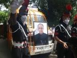 Mortal remains of Pranab Mukherjee at crematorium in New Delhi