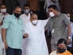 Samajwadi Party MP Mulayam Singh Yadav coming out of Parliament during Monsoon Session