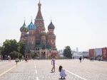 Moscow: People take photos at Red Square