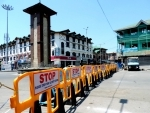 A deserted view of Budshah Chowk in Srinagar amid lockdown