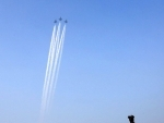 Three Sukhoi fighter aircraft fly past National War Memorial marking the beginning of Golden Jubilee of India's victory over Pakistan