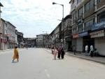 A view of the closed Hari Singh street in Srinagar amid Covid lockdown